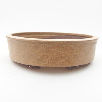 Ceramic bonsai bowl 20.5 x 20.5 x 5.5 cm, beige color - 1