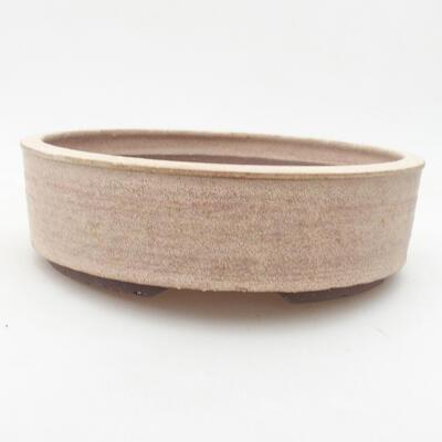 Ceramic bonsai bowl 20 x 20 x 6 cm, beige color - 1