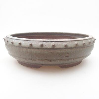 Ceramic bonsai bowl 24 x 24 x 7.5 cm, gray color - 1