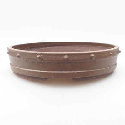 Ceramic bonsai bowl 26 x 26 x 5.5 cm, brown color - 1