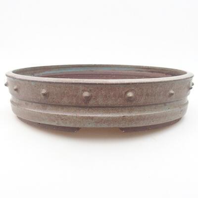 Ceramic bonsai bowl 27 x 27 x 6 cm, gray color - 1