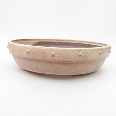 Ceramic bonsai bowl 28 x 28 x 7 cm, beige color - 1