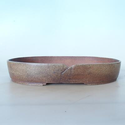 Ceramic bonsai bowl 37 x 26 x 6 cm, color brown-green - 1