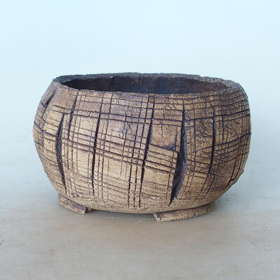 Ceramic bonsai bowl 14 x 14 x 7.5 cm, brown color - 1