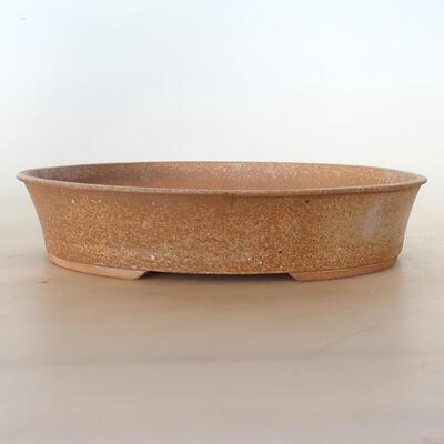 Ceramic bonsai bowl 33 x 26 x 7 cm, color brown-beige - 1