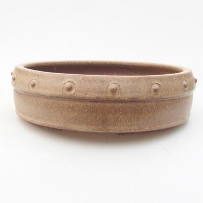 Ceramic bonsai bowl 19 x 19 x 5.5 cm, beige color - 1