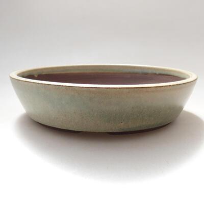 Ceramic bonsai bowl 17 x 17 x 4 cm, beige color - 1