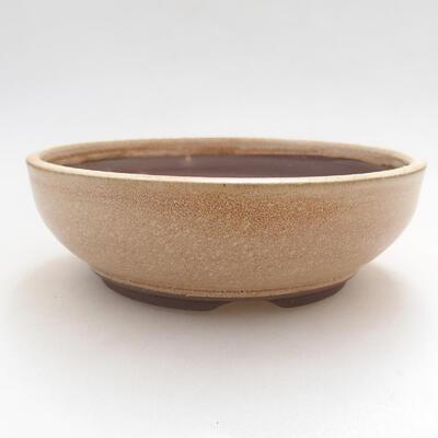 Ceramic bonsai bowl 15 x 15 x 5 cm, beige color - 1