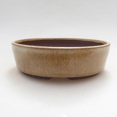 Ceramic bonsai bowl 15 x 15 x 4.5 cm, beige color - 1