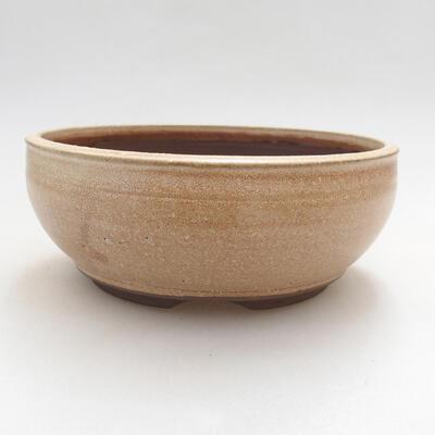 Ceramic bonsai bowl 14.5 x 14.5 x 6 cm, beige color - 1