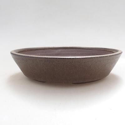 Ceramic bonsai bowl 16.5 x 16.5 x 3.5 cm, brown color - 1