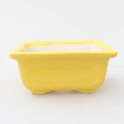Ceramic bonsai bowl 9.5 x 7.5 x 4.5 cm, yellow color - 1