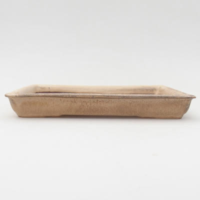 Ceramic bonsai bowl 17 x 13 x 2 cm, brown color - 1