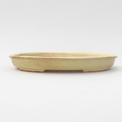 Ceramic bonsai bowl 17,5 x 13,5 x 2 cm, yellow color - 1