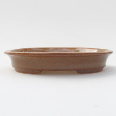 Ceramic bonsai bowl 12.5 x 11 x 2 cm, brown color - 1