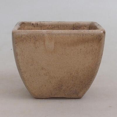 Ceramic bonsai bowl 7.5 x 7.5 x 6 cm, beige color - 1
