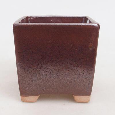 Ceramic bonsai bowl 9 x 9 x 8.5 cm, brown color - 1