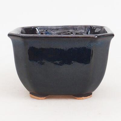 Ceramic bonsai bowl 10 x 10 x 6 cm, color blue-black - 1