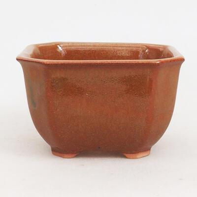 Ceramic bonsai bowl 10 x 10 x 6 cm, brown-rusty color - 1