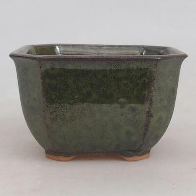 Ceramic bonsai bowl 10 x 10 x 6 cm, color gray-green - 1