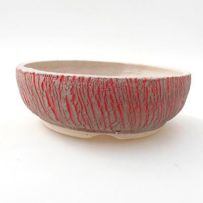 Ceramic bonsai bowl 13 x 13 x 6 cm, color red - 1