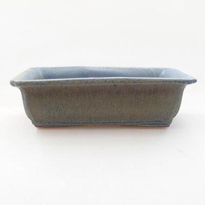 Ceramic bonsai bowl 13.5 x 9.5 x 4 cm, color blue - 1