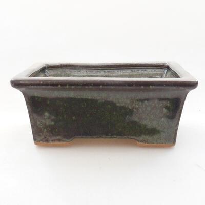 Ceramic bonsai bowl 11 x 8.5 x 4.5 cm, color green - 1