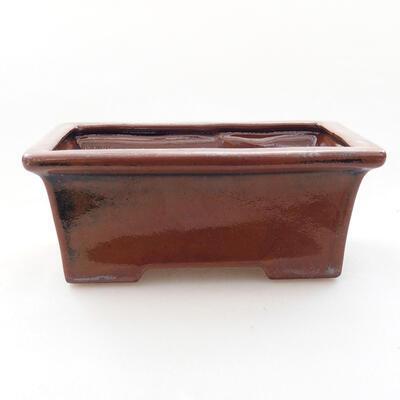 Ceramic bonsai bowl 11 x 8.5 x 4.5 cm, brown color - 1