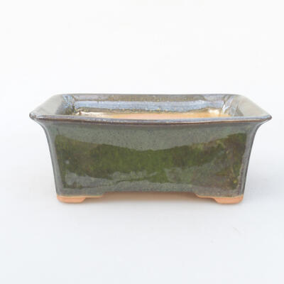 Ceramic bonsai bowl 18 x 14 x 7 cm, color green - 1