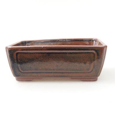 Ceramic bonsai bowl 12.5 x 9 x 4.5 cm, brown-black color - 1