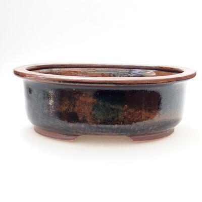 Ceramic bonsai bowl 22 x 17.5 x 7.5 cm, color brown-black - 1