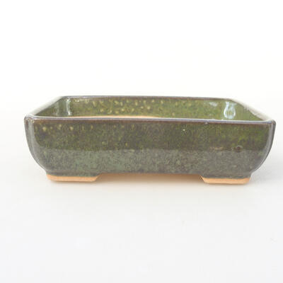 Ceramic bonsai bowl 14 x 10.5 x 3.5 cm, color green - 1