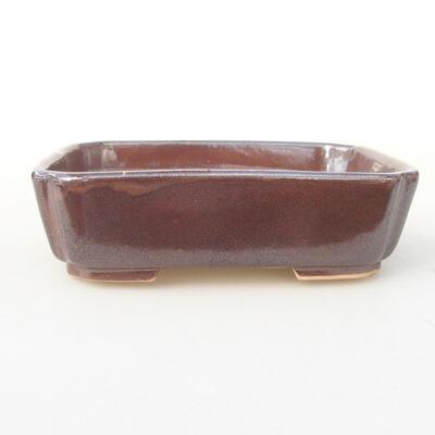 Ceramic bonsai bowl 15 x 11.5 x 4 cm, brown color - 1