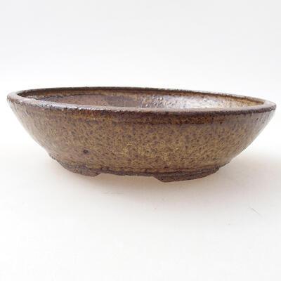 Ceramic bonsai bowl 19 x 19 x 5 cm, color brown - 1