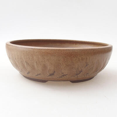 Ceramic bonsai bowl 20 x 20 x 6 cm, brown color - 1