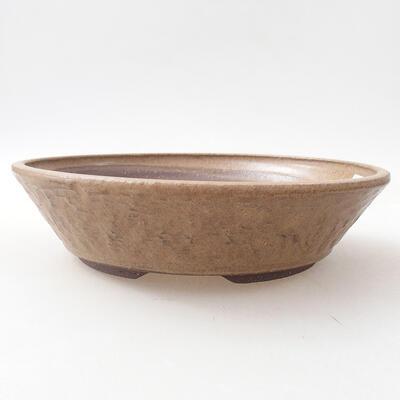 Ceramic bonsai bowl 22.5 x 22.5 x 5.5 cm, brown color - 1