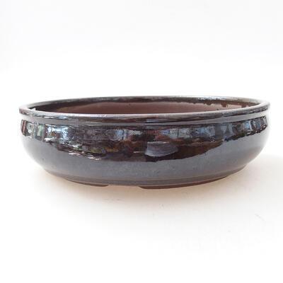 Ceramic bonsai bowl 18 x 18 x 5 cm, color brown - 1