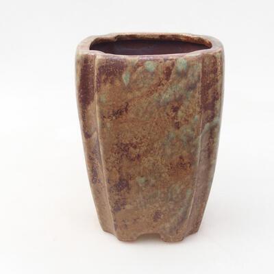 Ceramic bonsai bowl 10 x 10 x 15.5 cm, color brown-green - 1