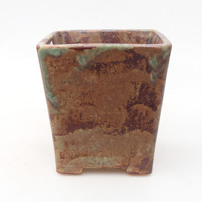 Ceramic bonsai bowl 10.5 x 10.5 x 11.5 cm, brown-green color - 1