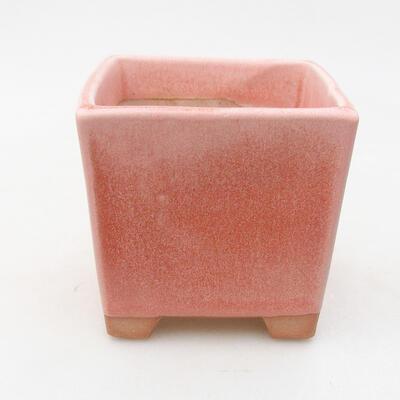 Ceramic bonsai bowl 8.5 x 8.5 x 8.5 cm, color pink - 1