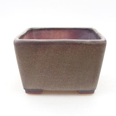 Ceramic bonsai bowl 10 x 10 x 7 cm, color brown-gray - 1