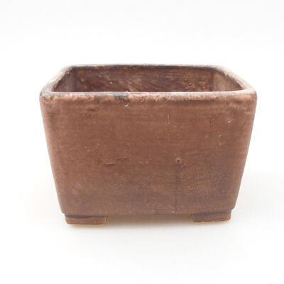 Ceramic bonsai bowl 10 x 10 x 7 cm, color brown-pink - 1