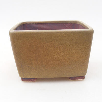 Ceramic bonsai bowl 10 x 10 x 7 cm, color brown - 1
