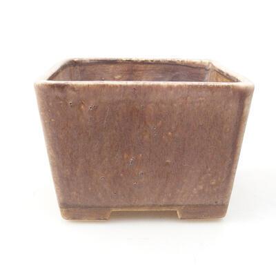Ceramic bonsai bowl 10 x 10 x 7.5 cm, brown color - 1
