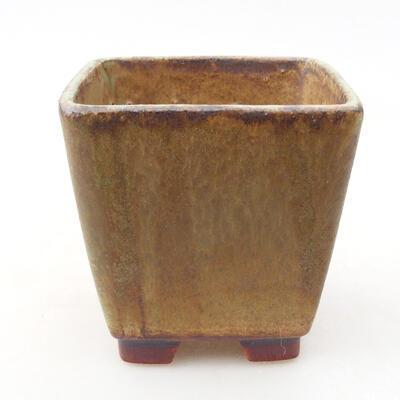 Ceramic bonsai bowl 7 x 7 x 7 cm, color brown-green - 1