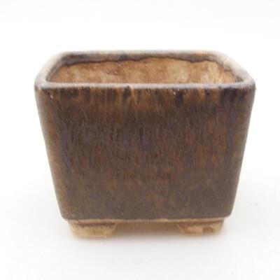 Ceramic bonsai bowl 6.5 x 6.5 x 5 cm, brown color - 1