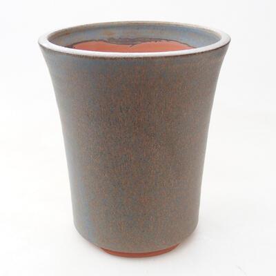 Ceramic bonsai bowl 11 x 11 x 14 cm, brown-blue color - 1