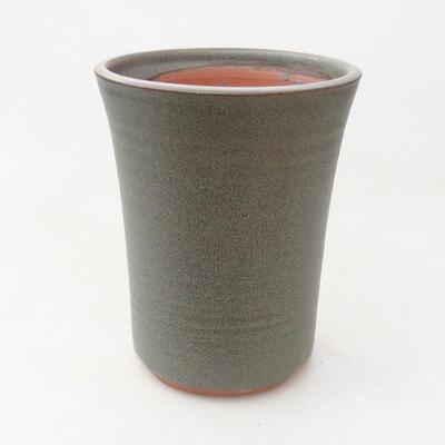 Ceramic bonsai bowl 10.5 x 10.5 x 14 cm, color brown-green - 1