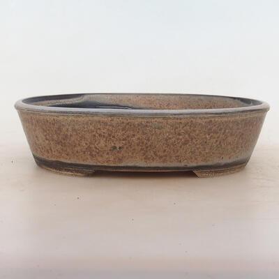 Bonsai bowl 23.5 x 18.5 x 6 cm, gray-beige color - 1