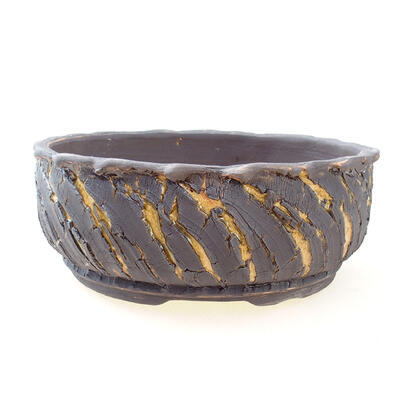 Ceramic bonsai bowl 21 x 21 x 8 cm, color crack yellow - 1